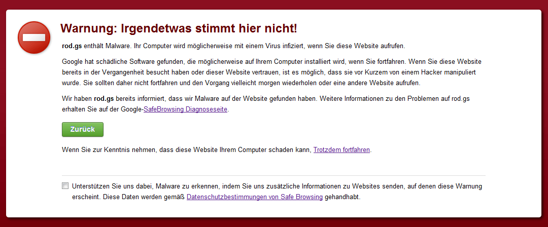 Falscher Alarm bei Google Chrome