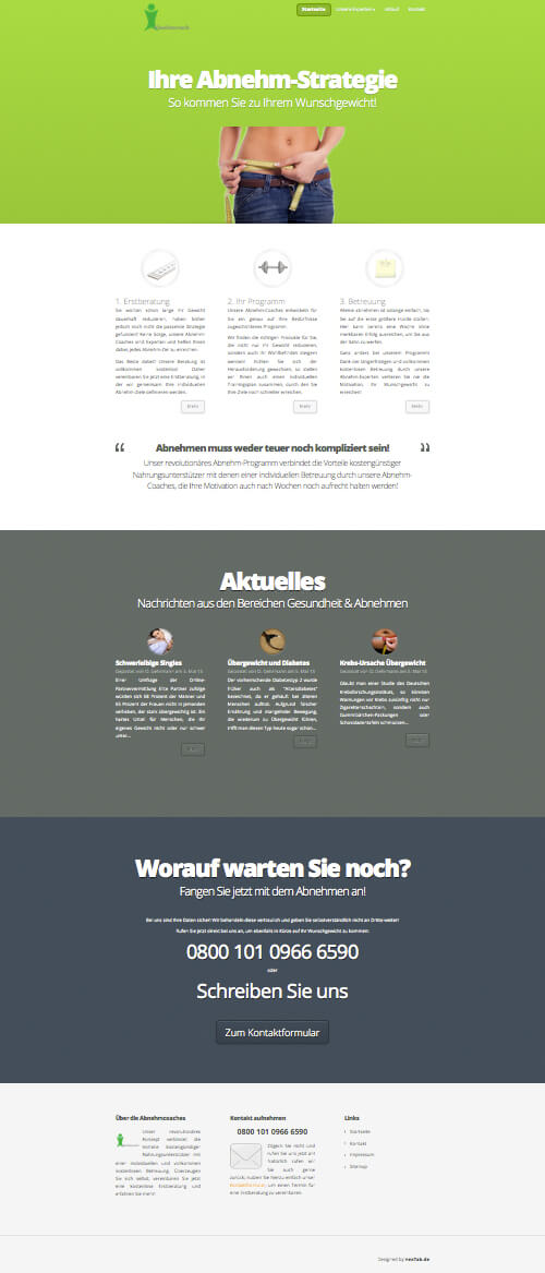 ich-will-weniger.de - Scrollpage Design