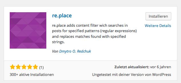 re.place mit seiner stolzen 1 Bewertung...