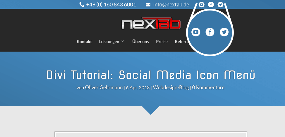 Divi Tutorial: Social Media Icon Menü