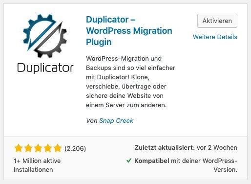 Das Plugin Duplicator im WordPress Plugin-Verzeichnis